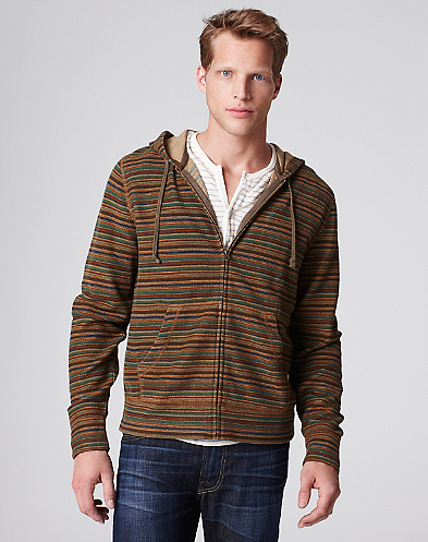 Reverse Print Striped Zip Hoodie*
