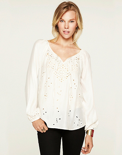 White Peasant Dress on Rhiannon Cutout Peasant Top    Sale   Lucky Brand Jeans