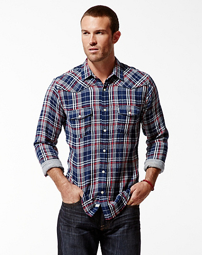 Rivington Plaid Double Weave Western Shirt