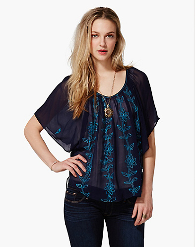 Sardinia Embroidered Floral Butterfly Top
