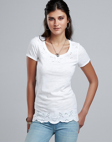 Scalloped Eyelet T-Shirt