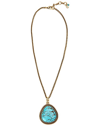 Set Stone Turquoise Pendant Necklace
