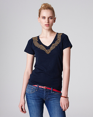 Shelby Metallic Beaded T-Shirt