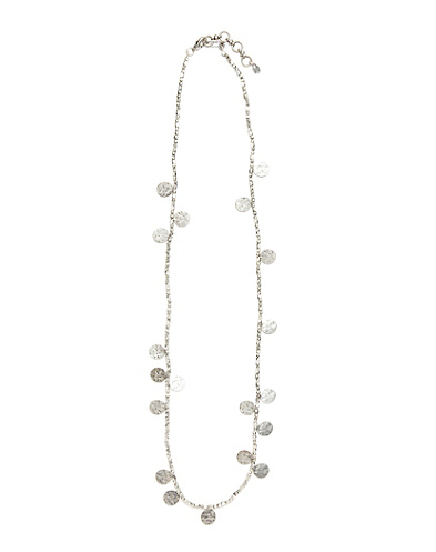 Silver Beaded Disc Necklace