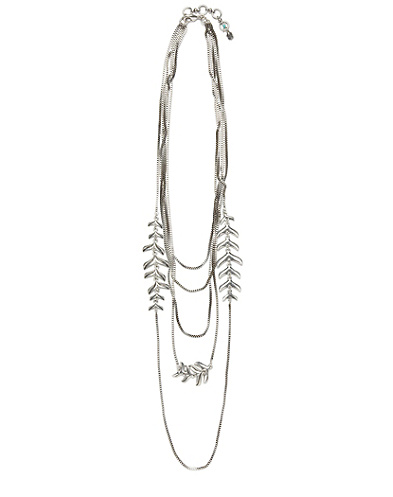 Silver Dangling Ferns Necklace