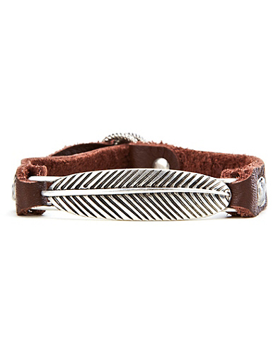 Silver Feather Leather Bracelet