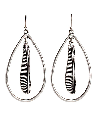 Silver Feather Teardrop Earring