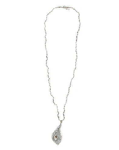 Silver Knotted Feather Openwork Necklace