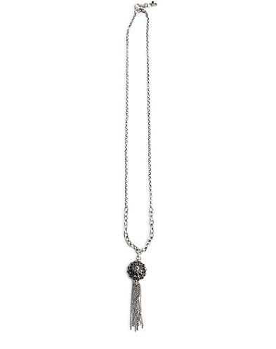 Silver Pave Ball Tassel Necklace