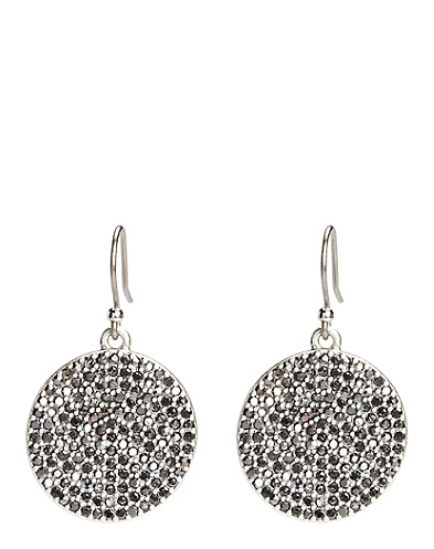 Silver Pave Disc Earrings