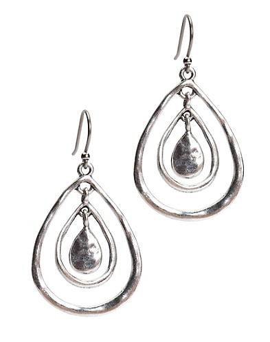 Silver Triple Teardrop Hoop Earrings