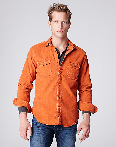 Solid Cord Western Shirt