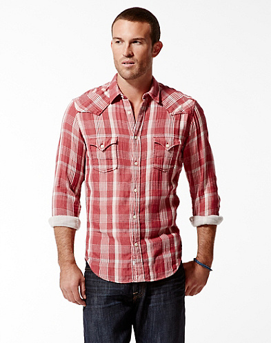 Sonoma Plaid Double Weave Western Shirt