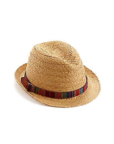 Straw Fedora Hat With Woven Band