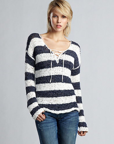 Striped Lace-Up Pullover*