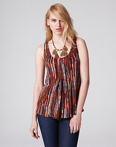 Striped Pleated Tank Top*