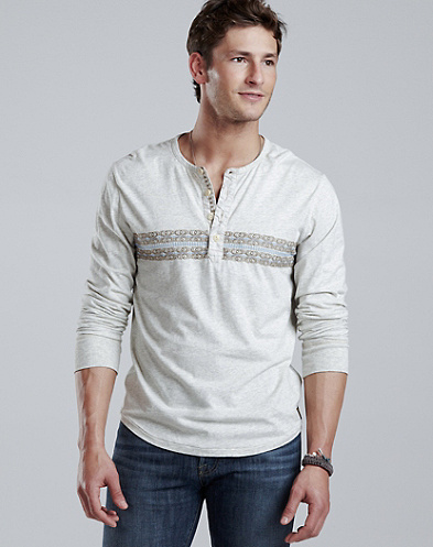Summer Weight Embroidered Henley*