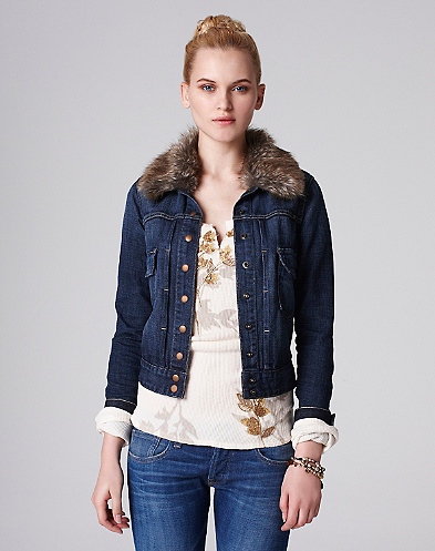 Tiffany Fur Collar Denim Jacket