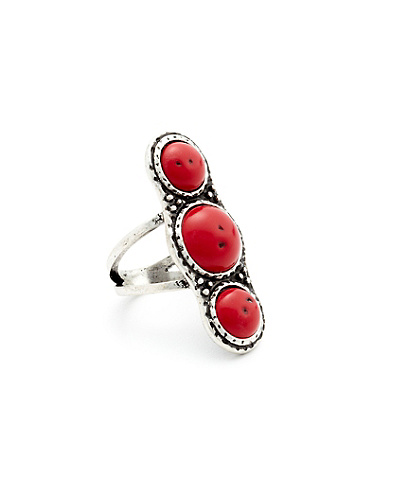 Triple Coral Set Ring