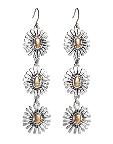 Triple Floral Drop Earrings