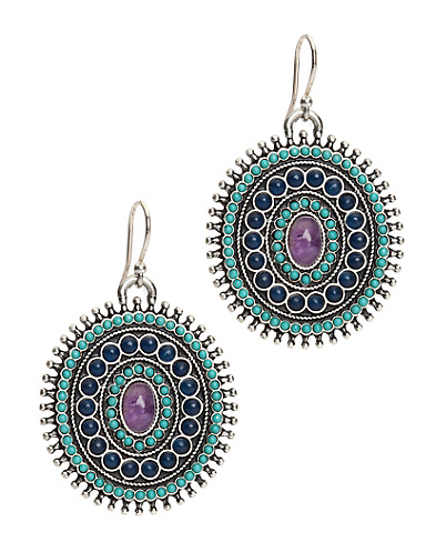 Turquiose Drop Disk Earrings