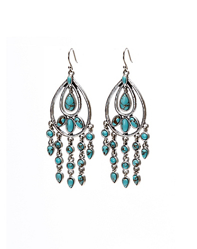 Turquoise Oblong Chandelier Earrings
