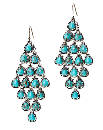 Turquoise Set Stone Chandelier Earrings*