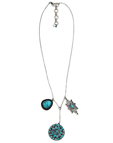 Turquoise Set Stone Disc Necklace
