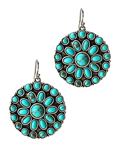 Turquoise Set Stone Disk Earrings
