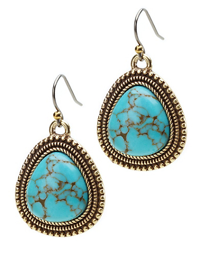 Turquoise Set Stone Drop Earrings