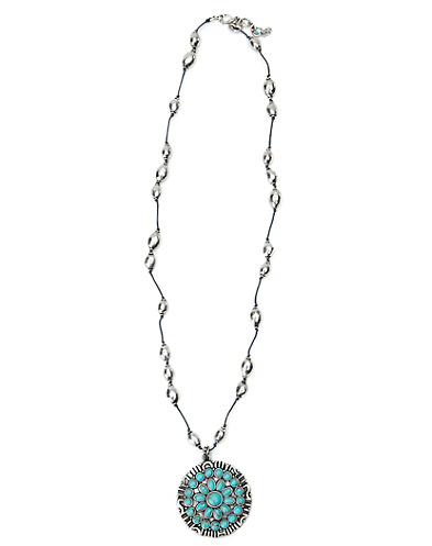 Turquoise Set Stone Pendant Necklace