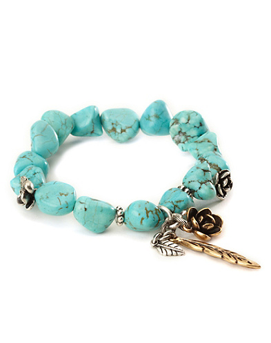 Turquoise Stretch Silver Flowered Bracelet