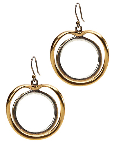 Two-Tone Double Circle Earrings*