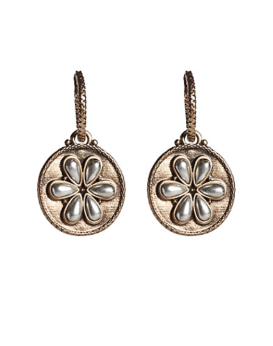 Two-Tone Flower Drop Earrings