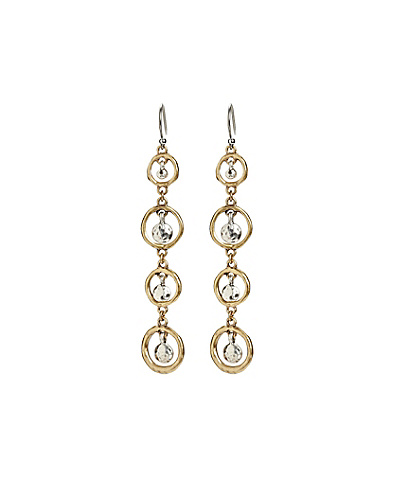 Two-Tone Linear Circle Drop Earrings