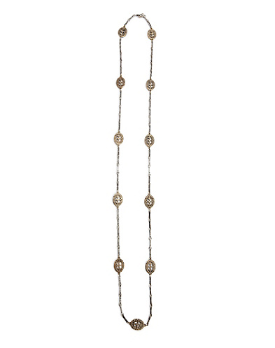 Two Tone Metal Flapper Necklace