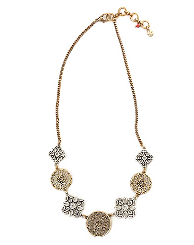 Two-Tone Openwork Disk Collar Necklace