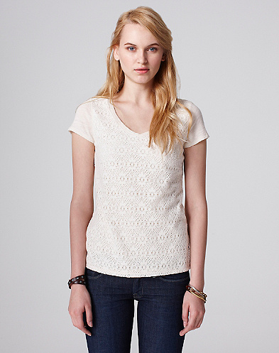 V-Neck Lace T-Shirt*