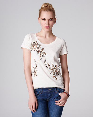 Velvet Embroidered Floral T-Shirt