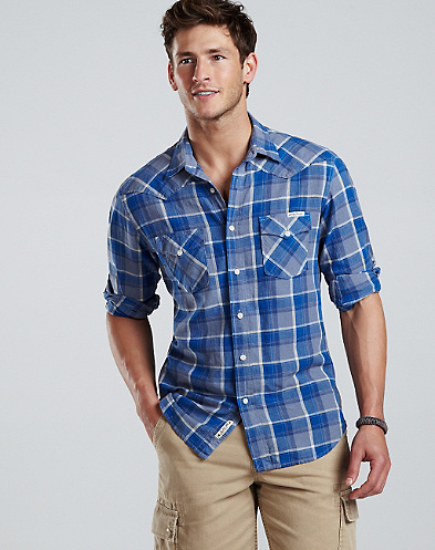 Westward Plaid Linen Western Shirt*