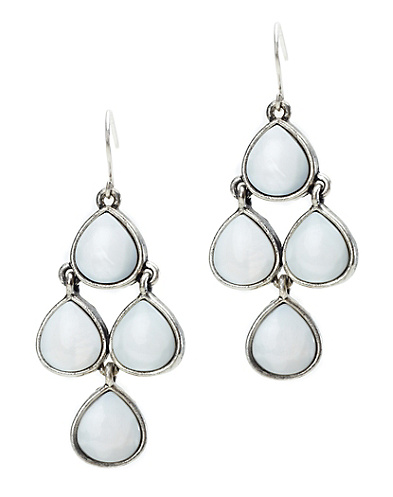 White Set Stone Chandelier Earrings
