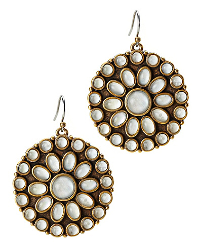 White Set Stone Disk Earrings