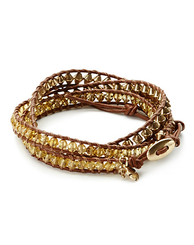 Yellow & Metal Wrap Bracelet