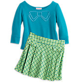 American Girl Blue Bow Top & Pleated Plaid Skort for Girls