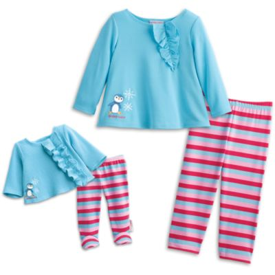 Ruffled Penguin PJs for Dolls & Girls