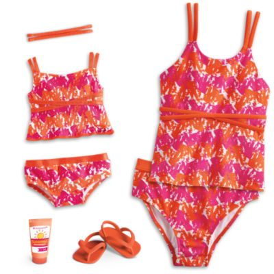 Bright & Splashy Tankini for Dolls & Girls