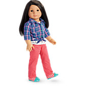 American Girl Cat Tee & Plaid Shirt Outfit for Dolls