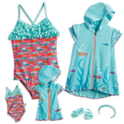 Fun Fish Swimsuit & Cover-Up for Dolls & Girls