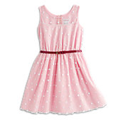 PINK POLKA-DOT DRESS/BELT