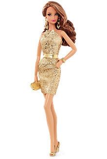 City Shine™ Barbie® Doll—Gold Dress